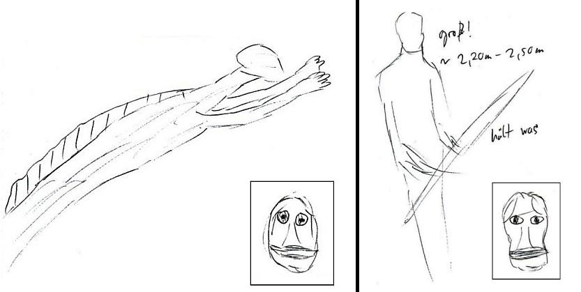 Zwei amphibische Wesen aus einer anderen Session, die sich leicht unterschieden. Eine Spezies wirkte weicher und eleganter (links), die andere (rechts) kantiger und reptilischer.