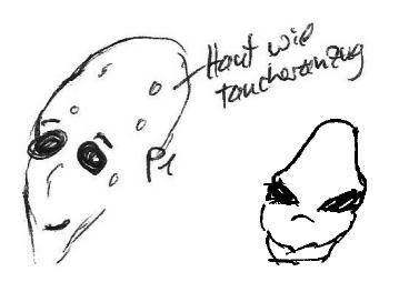 Schnelle Gesichtszeichnungen aus zwei verschiedenen Sessions auf die amphibische Spezies.