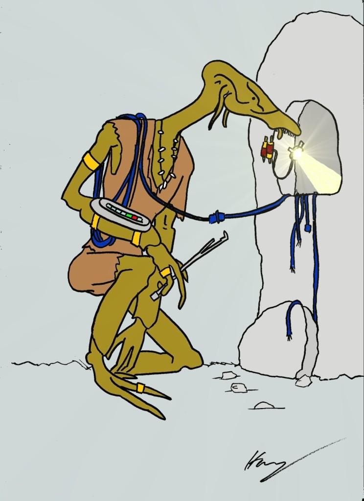 Das wohl exotischste Wesen aus dem Team wirkte sehr knochig (fast wie ein Exoskelett) und besaß einen schnabelartigen Schädel. Es hantierte mit Kabeln an einem Gerät rum.